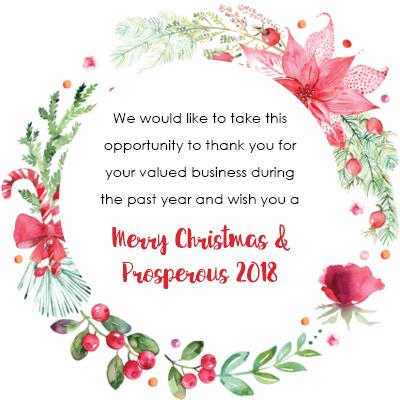 Merry Christmas &  Prosperous 2018